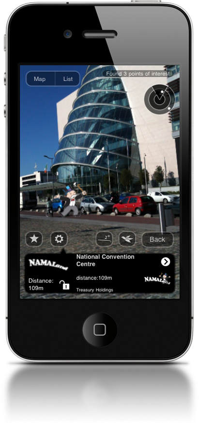 NAMAland is an augmented reality app which lets you see properties in Dublin reportedly owned by NAMA
